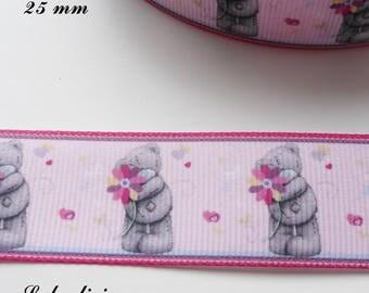 Light pink border grosgrain Pink Ribbon Teddy bear / gray Teddy holding flower 25 mm sold by 50 cm