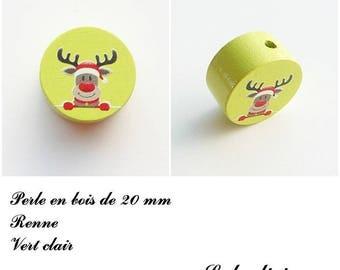 Wooden bead of 20 mm, flat bead, reindeer: light green