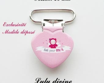 Heart, Pacifier Clips 20 pink doll made for me from 25 mm