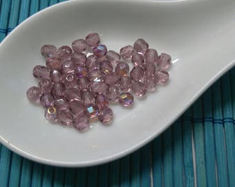 faceted 4mm amethyst round Czech glass beads