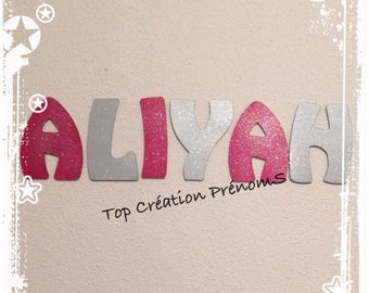 Wood 15 cm tall, painted and glittered letter name custom-