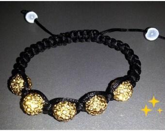 Shamballa bracelet black with beige Swarovski Pearl