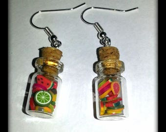 jar with pieces of fruit earrings