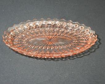 "Holiday Pattern 11 3/8""  Oval Platter by Jeannette Glass"