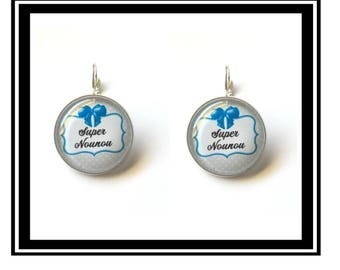 "Earrings original ""Super nanny"" nanny, personalised, thank you, gift"