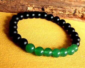 Mens natural stone bracelet with ' AAA black tourmaline and aventurine