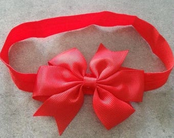 baby girl headband pattern red bow