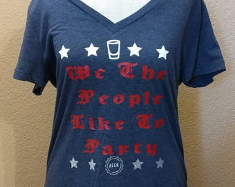 We The People Like To Party Navy Blue T-shirt
