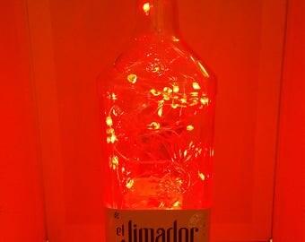 El Jimador color changing LED lamp (battery) Glass Liquor Bottle - LED Lighting with REMOTE!!
