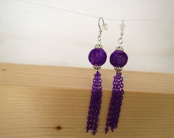 Earrings chain mesh beads