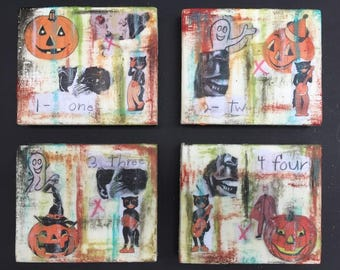 "Jacks and Cats, Vintage Halloween - Sold as Set of 4 - Original Encaustic Mixed Media Collages - Each one 5""x4"""