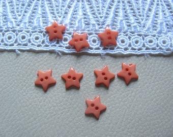 8 buttons plastic stars peach 11mm