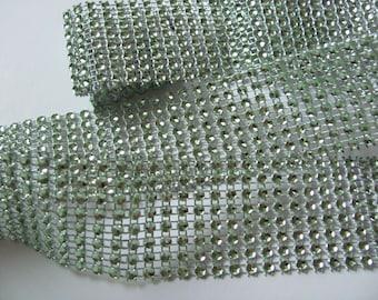 1 meter - Stripe green rhinestone 40 mm