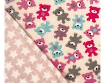 Plush teddy bear fabric - printed Double sided