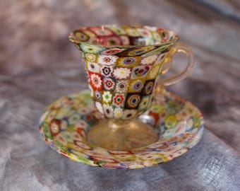 Vintage Italian Millefiori Murano Glass Tea Cup with Gold Wash and Saucer