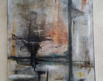 Large abstract painting acrylic l on cotton frame