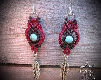 Macrame necklace with turquoise bead dangling earrings.