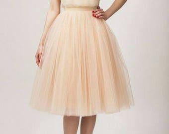 Tulle Peach Skirt