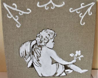 Angel painting on linen