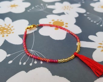 Handmade collection - red & gold - tassel bracelet
