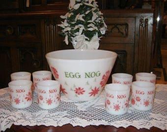 Fire King Anchor Hocking USA Egg Nog Bowl & 8 Cups