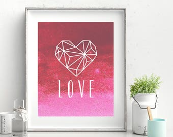 Geometric Heart Printable Poster (Red)