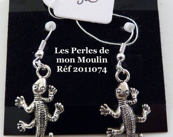 1 pair earrings silver salamander / 2011074