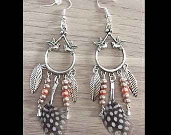 Natural feather earrings and glass beads