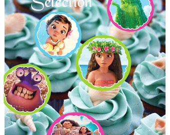 INSTANT Download Moana Cupcake Toppers, Printable Cupcake Toppers, Printable Moana Decor, Moana Party Printable, Moana Thank You Tags