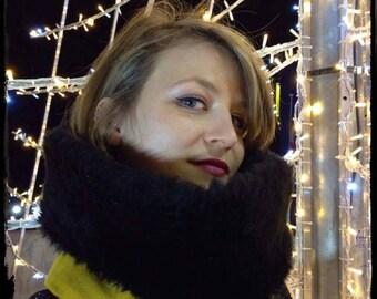 Mustard yellow velvet and black fur collar