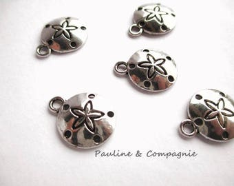 5 round charms pendants star pattern Starfish silver color