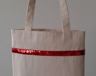 Clearance sale - Tote Bag red sequin