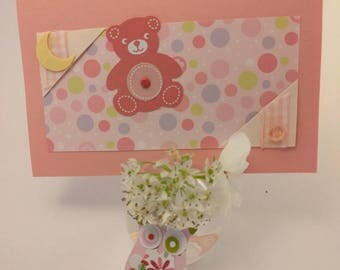 scrapbooking for girl handmade birth card
