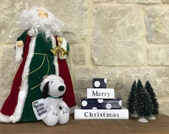 Blue and White Merry Christmas Wooden Block Sign