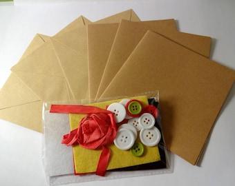Kit card making - 3 cards, envelopes, tape, felt and buttons - cardmaking - embellishment