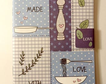 Small blue notebook * Made with love *-kitchen - handwriting - workbook notebook