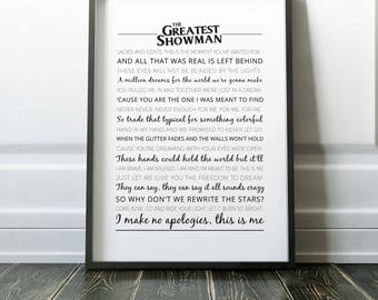 The Greatest Showman Poster   Typography   The Greatest Showman Print   Greatest Showman   This Is Me Song Lyrics   Wall Art   Home Decor
