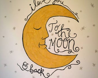 Love Moon Print Drawing