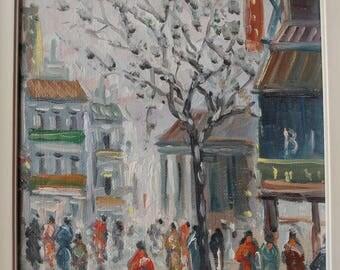 Original Oil on Canvas Impressionist Winter Street Scene by Rodini