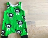Harem romper size 56 (0-3months) lion, black and white, summer, baby clothes, clothing, green