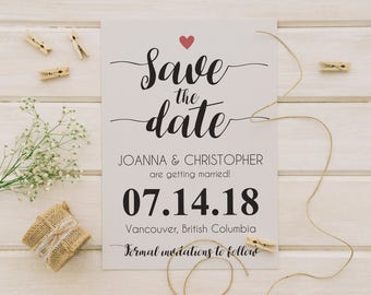 5x7 Minimalist Heart Save the Date | Save the Date Card | Save the Date Wedding Printable | Save the Date Template | Instant Download | DIY