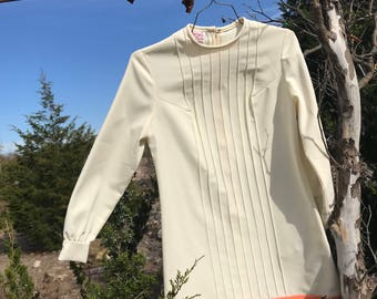 Vintage 1970s Jerell of Texas cream and peach dress, size large