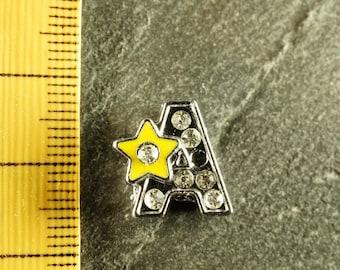 Pearl star N8 letter bandwidth rhinestone alphabet for bracelet