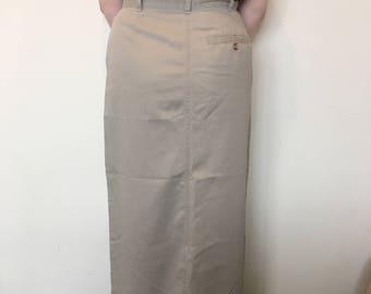 Vinatge 90s Khaki Midi Length Skirt
