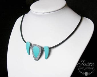 Polymer clay necklace, blue gradient and silver bubbles