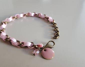 Bracelet • JADE • bronze / pale pink