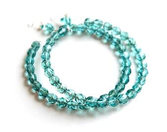 Aqua Blue Hoop Earrings - Invisible Clip on Earrings