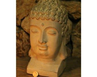 large buddha head statue meditating room yoga zen lady sculpture vintage