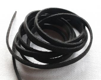 5 meters of strip of suede Black 6 x 1.5 mm