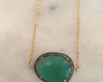 Onyx and Pave Diamond Necklace on 14 kt Gold Chain